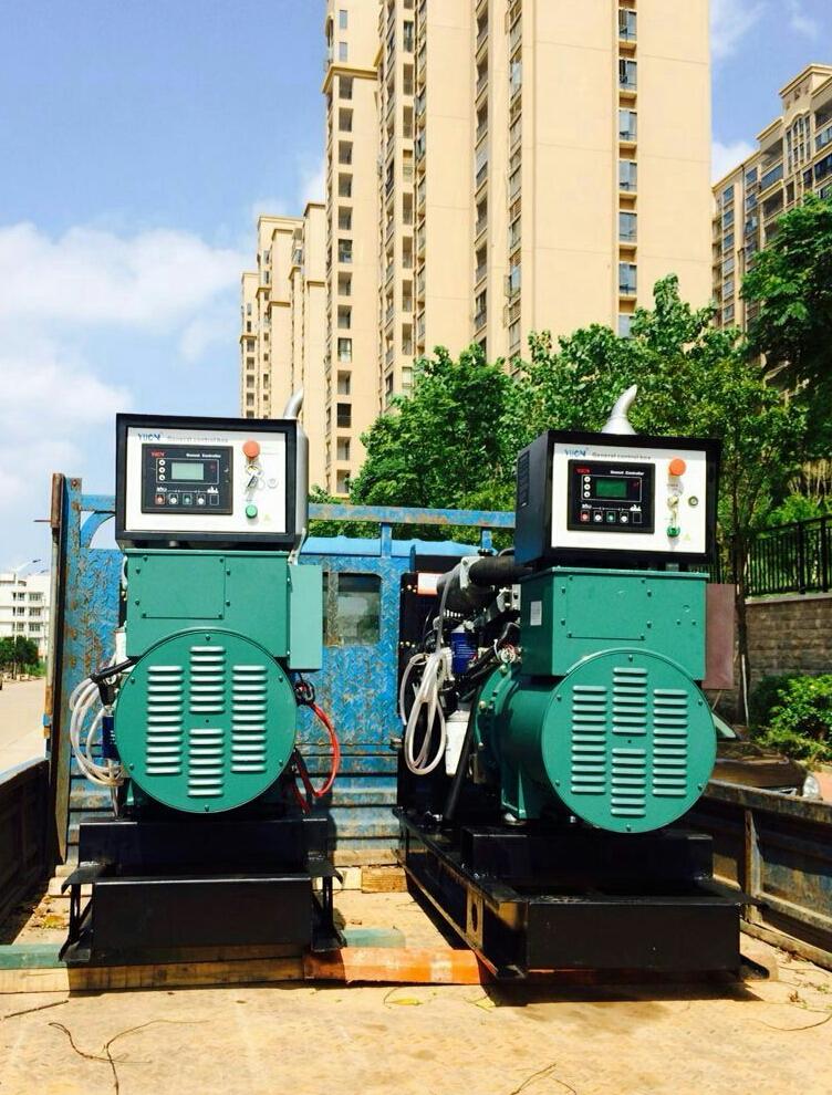 一批福湘牌潍柴动力机组。配套道依茨发电机送抵用户现场。