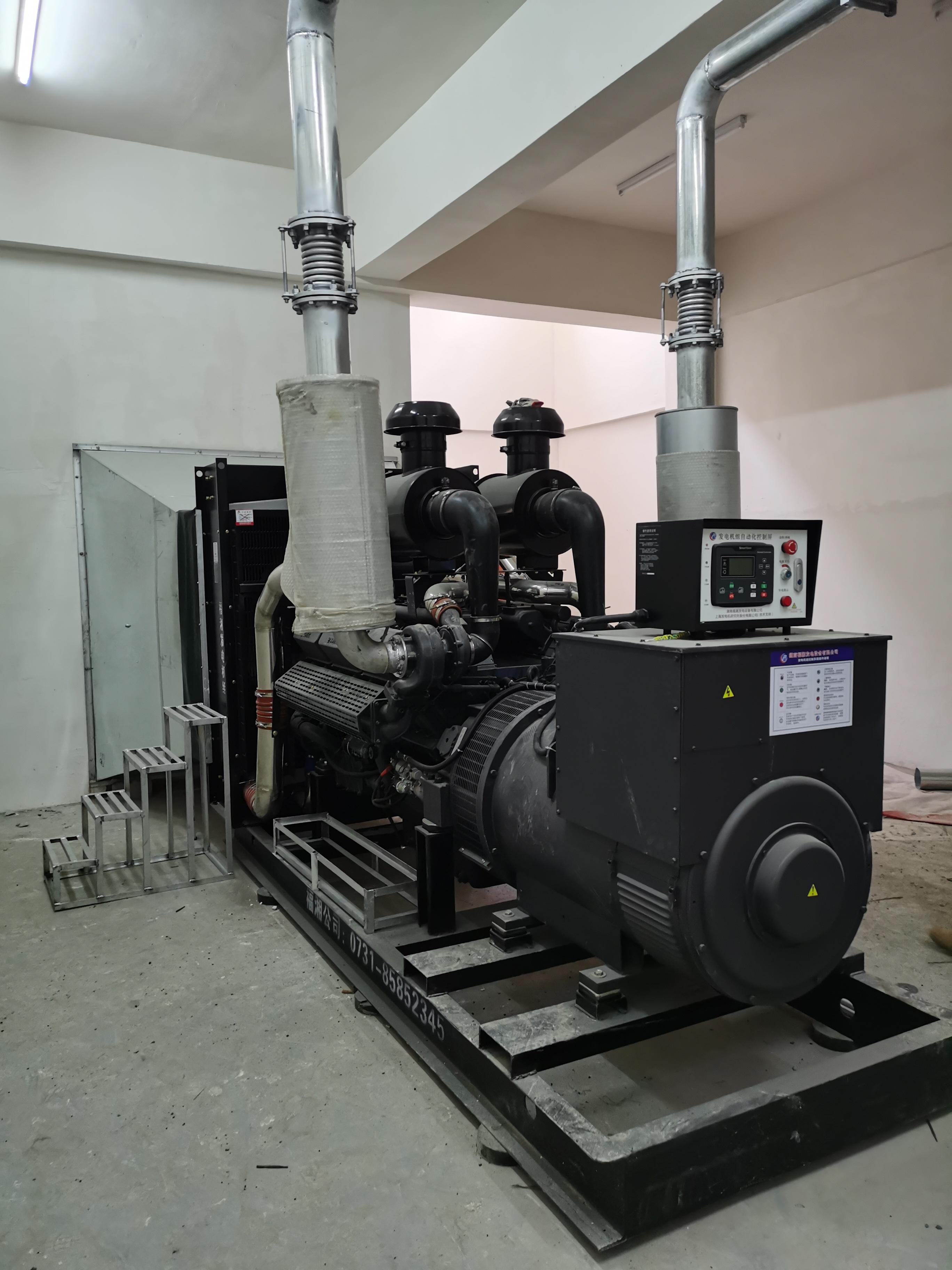 福湘发电设备有限公司:上柴动力+广州道依茨发电机安装完毕等待验收